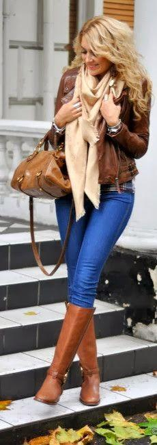 Fall Outfit With Skinny Jeans,Brown Leather Jacket and Infinity Scarf. @MijoRecipes: Brown Leather Jacket Outfit, Style, Fall Outfits, Winter Outfits, Leather Jackets, Fall Fashion, Things, Fall Winter