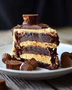 Flourless Chocolate Peanut Butter Cup Cake - need 6 eggs, lots of butter, some heavy cream, peanut butter, chocolate chips, etc.