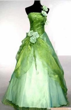 Gorgeous recreation of the Princess Tiana Gown - You Choose: the Bride Wore Green - or - your Hostess could greet guest in this - or - even your Bridesmaids - the possibilities are endless - one drawback - it's a google found item. I went to the site
