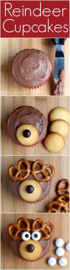 How to make Reindeer Cupcakes - so cute!: Christmas Food, Fun Christmas Cupcake, Rudolph Cupcake, Reindeer Cupcakes, Christmas Treats, Christmas Cupcakes, Cute Christmas Cupcake, Winter Cupcake