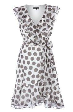 I love polka dots. Would look cute with some mustard colored shoes and necklace.: Wrap Dresses, Summer Dress, Gray Polka, Style, Polka Dot Dresses, Polkadots, Cute Polka Dots