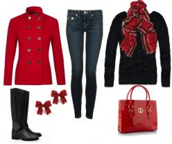I want to wear this with some adjustments. I have black and white coat and blue shirt and short black boots. Different but still winter like.: Style, Holiday Outfit, Winter Outfit, Christmas Outfits, Polyvore, Winter Red, Fall Winter