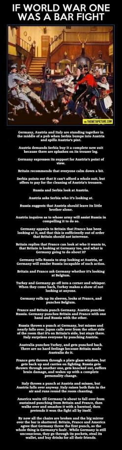 If World War One was a bar fight // this is how we should have studied it in school: World War One, Bar Fight, Stuff, History Teacher, Wwi, Funny, Things, Funnie