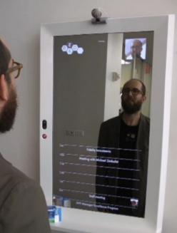 interactive mirrors tell weather, news, diet progress, and more while you brush your teeth!: Idea, Technology Gadgets, Diet Progress, Smart Technology, Bathroom Mirror, Smart Mirror, Magic Mirrors, Interactive Mirrors, Bedroom