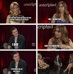 Jennifer Lawrence and Josh Hutcherson funny interview: Josh Hutcherson, Hutcherson Interview, Movie, Funny Stuff, Hungergames, Hunger Games Humor, Jennifer Lawrence