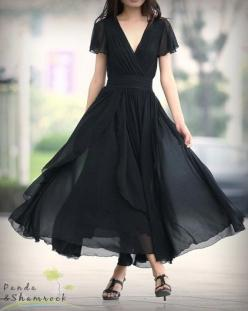 Let the wind flow/long dress/S-XL/custom made/chiffon/flowing/elegant/V neck: Flowy Dress, Long Dresses, Fashion, Flowing Dress, Style, Flow Long Dress S Xl Custom, Wind Flow Long, Black Dress