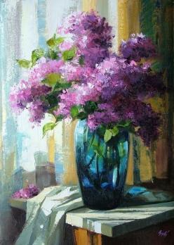 Lilacs in Teal Glass Vase Artist: Chitti Sugadhan  Found on: http://www.indulgy.com/posts/ts1LJZcXp1/flowers: Oil Paintings, Watercolor, Idea, Oil Painting Flowers, Art Floral, Lilac Painting, Art Flowers, Painting
