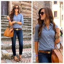 Love this! Chambray shirt with skinnys and animal print!: Denim On Denim, Fashion, Style, Dream Closet, Fall Outfits, Jeans, Fall Winter