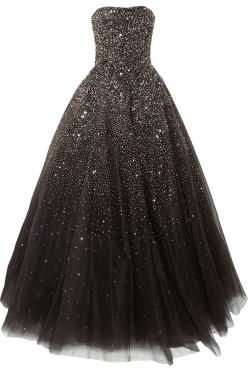 Marchesa Sequined Tulle Gown. I can imagine a base color of midnight blue. So you could feel as if you were wearing a night sky.: Black Ball Gown, Princess Prom Dress, Starry Night, Night Sky Dress, Black And White Gown, Tulle Gown, Marchesa Sequined, Bla