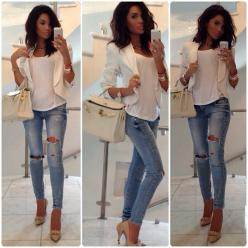 Nice jeans , ladies casual dress look, blouse with holy moly jeans.: Outfits, Ripped Jeans, Fashion, Idea, White Blazers, Clothes, Casual, Styles, Closet