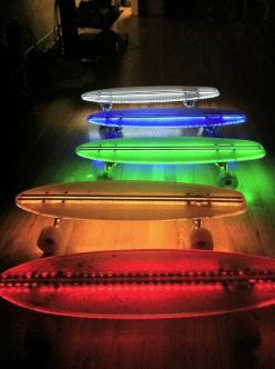 Omg I bet some one I know  would like this .....who am I kidding I like it!!!!!!: Penny Boards, Cool Skateboard, Skateboard Idea, Led Skateboards, Penny Skateboard, Skateboard Design