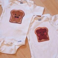 PB onesies for twin babies- repinning because I know I'm having twins :) ....someday....