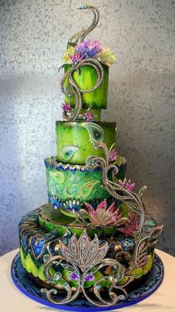 Peacock Cake (Actually an Indian-style wedding cake, but who needs a wedding for fabulous cake?): Idea, Peacocks, Amazing Cakes, Peacock Wedding, Wedding Cakes, Beautiful Cake, Awesome Cake, Weddingcake, Peacock Cake