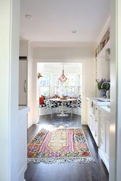 such a lovely combo of color. Love that view...the rug invites you to the eating nook. 024-050b_std-1 by jamie meares, via Flickr: White Kitchen, Bay Window, Breakfast Nooks, Kitchen Rug, Galley Kitchens, Space, Rugs