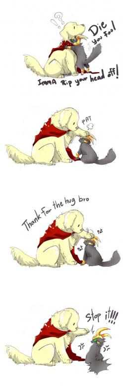 Thor and Loki's relationship as told by animals - I'm sorry, but Thor-dog is just too adorable xD: Catloki Imma Kill, Funny Avengers, Avengers Assemble, Dogthor Catloki Imma, Loki Thor, Avengers Marvel, Avengers As Animals, Adorable Xd, Thor Dog