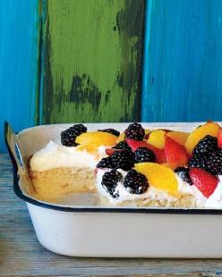 Tres Leches Cake Recipe We added whipped cream and fruit to a classic tres leches cake. Use any fruit in season, alone or a combination.: Cake Recipe, Fun Recipes, Cakes, Cincodemayo, Tres Leches Cake, Treslechescake, Savory Recipes, May 5, Dessert