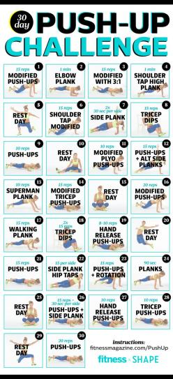 Try our 30-day push-up challenge for hot arms in one month! #pushupchallenge: Pushupchallenge, Fitness Workouts, Fitness Magazine, 30 Day Pushup Challenge, Exercise, Arm, Push Up Challenge, Fitness Challenges