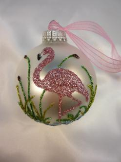 Unique Hand Crafted Pink Flamingo Bird on White Ornament - Florida Christmas Flamingo. $15.00, via Etsy.: Crafted Pink, Pink Flamingos, Flamingo Christmas, Fabulous Flamingos, Christmas Ornament