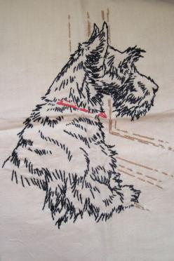 Vintage Scottish Terrier Embroidery on Linen Scotty Dog Scottie Darling via Etsy: Scottie Dogs, Linen Scotty, Vintage Scottie, Embroidery Design, Baby Dogs, Scottish Terriers