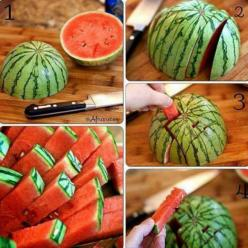 Watermelon cut this way is easy to eat and will last longer in the fridge...genius!.: Cutting Watermelon, Food Ideas, Watermelon Sticks, Cut Watermelon, Food Fruit, Cooking Tips, Recipes Fruit, Dessert