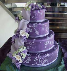 wedding cake with gumpaste roses: Purple Wedding Flower, Blue And Yellow Wedding Cake, Beautiful Wedding Cake, Purple Flowers, Wedding Cakes, Flower Wedding Cake, Purple And Blue Wedding Cake, Purple Cake, Blue And Purple Wedding Cake