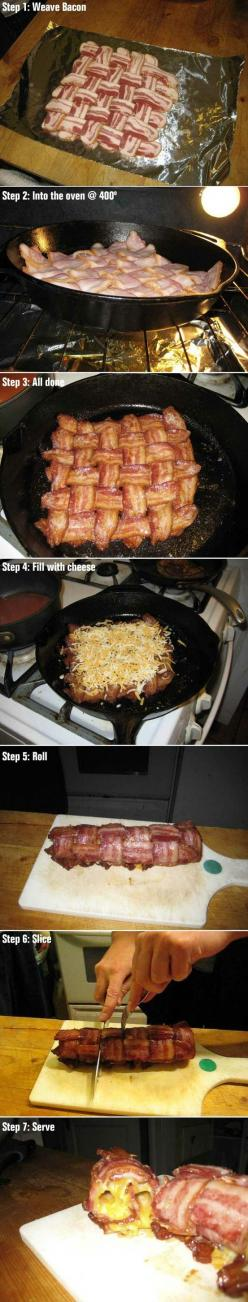 WOVEN BACON BLANKET - An excellent topper for meatloaf or a lean pork tenderloin roast. SaiFou Image: Heart Attack, Bacon Cheese, Food, Bacon Bacon, Recipe For Success