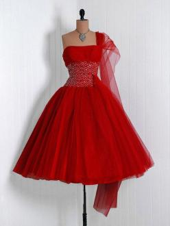 1950's Vintage Ruby-Red Sequin Tulle-Couture Asymmetric One-Shoulder Shelf-Bust Strapless Rockabilly Full Circle-Skirt Bombshell Party Dress at TimelessVixenVintage on Etsy - $375: 1950S, Vintage Fashion, Dresses, Vintage Dress, Vixen Vintage, Timeles