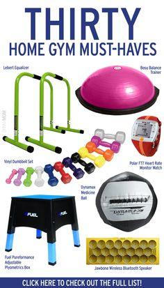 30 Home Gym Must-Haves - The home gym can be a blessing for a busy mom. There are no closing hours, no waiting to use the equipment and no need for a sitter to watch your kids. Unfortunately, it can often be confusing to know what items you really need in
