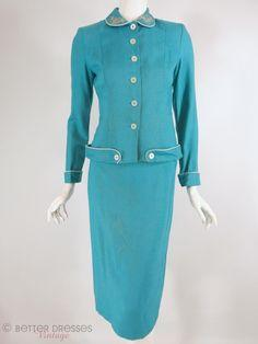 50s Skirt Suit in Turquoise Blue - xs, sm: 1940 1950 Fashion, Suits 1950S, Vintage Fashion, 1950S Spring, 1950S Skirt, 1950 S Fashion, Fashion Suits, 1950S Fashion, 1960 S Fashions