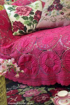 A Colourful Vintage Crochet with Cushions and a Hooked Rug - pure comfort!