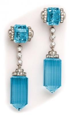 Art Deco Barrel-Cut Aquamarine, Diamond and Platinum Earrings: Platinum Earrings, Drop Earrings, Aquamarine Earrings, Art Deco, Diamond, Art Deco, Aquamarine, Jewelry Earrings