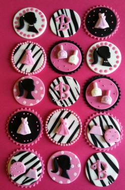 Barbie cupcake toppers via Etsy: Toppers Cupcake, Fondant Cupcake Toppers, Brownies Muffins Cupcakes, Cup Cake, Barbie Cupcake Toppers, Barbie Cake Ideas, Barbie Cupcakes