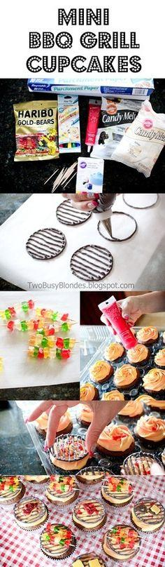 BBQ cupcakes. SO CUTE!...: Cupcakes Cake, Fathers Day Cake, Bbq Cupcake, Grill Cupcake, Cup Cake, Cute Cupcake