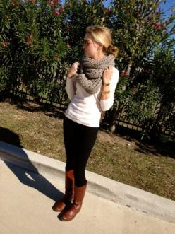 Big scarf, leggings, and boots-- just got a scarf that would be perfect for this outfit!: Infinity Scarfs, Dream Closet, Fall Outfits, Winter Outfit, Fall Fashion, Fall Winter, Winter Fall