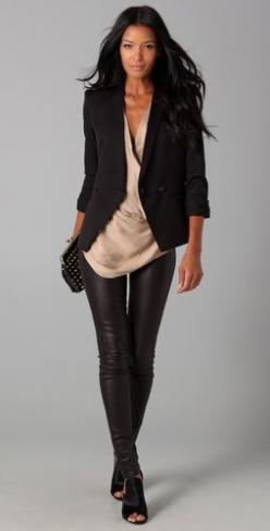 black & nude: Fashion, Style, Night Outfit, Black Leather, Leather Leggings, Leather Pants, Fall Winter, Black Blazers, Leatherpants