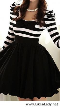 Black and white dress with a #bow: Fashion, Style, Clothes, Black And White, Cute Dress, Dresses, Outfit, Bow