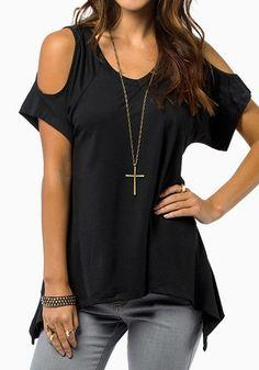 Black Plain Short Sleeve Wrap Dacron T-Shirt