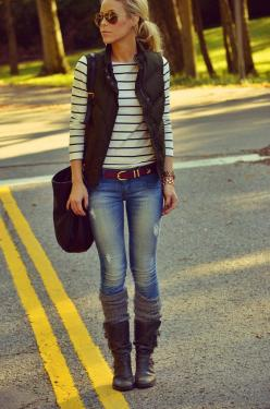 Blue jeans, stripes & a puffy vest. I absolutely love how comfy and cute yet simple this look is. this is me on the daily for the past 3 weeks. yay fall fashion!: Casual Outfit, Outfit Ideas, Fall Style, Winter Outfit, Fall Outfits, Fall Fashion, Fall