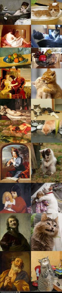 Cats imitating Art, or is it Art imitating cats? My favorite is the fruit bowl. And I'm worried that one of the cats is gnawing on a turd. I thought only dogs did that.: Cat Art, Funny Animals, Kitty Cats, Cats Imitating, Crazy Cat, Imitating Art, Fun
