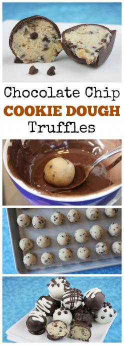 "Chocolate Chip Cookie Dough Truffles #recipe: made with ""no egg,"" safe-to-eat chocolate chip cookie dough.  SO GOOD.: Cookie Dough Dessert, Cookie Dough Recipe, Chocolate Chip Cookie Truffle, Cookie Dough Truffle"