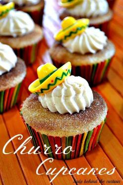 Churro Cupcakes with a cinnamon cream cheese frosting; What a great idea for Cinco de Mayo!: Cupcakes Cake, Cuppycake, Churro Cupcakes, Food, Cream Cheese, May 5, Cup Cake, Mexican Fiesta, Dessert