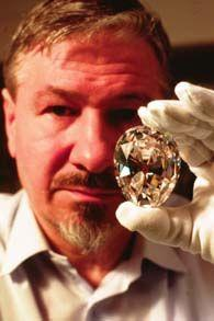 """Cullinan I, the First or Greater Star of Africa  The largest diamond is Cullinan I. Weighing in at 530.2 carats, it measures 2 1/8"""" long, 1 ¾"""" wide, and 1"""" thick at its deepest part. It was cut and polished by Asscher's into a pear shape with 76 facet"""