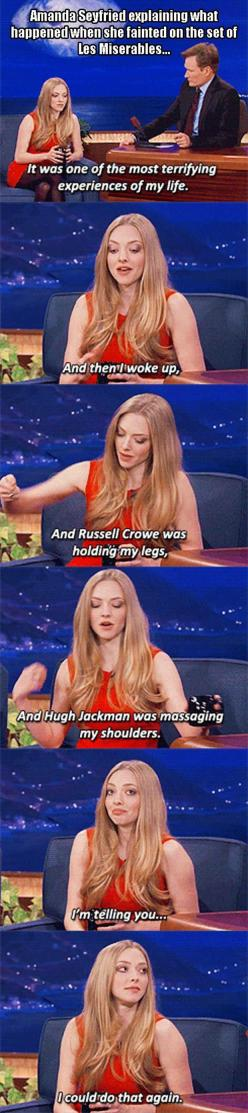 Dump A Day Funny Pictures Of The Day - 96 Pics: Les Miserables, Giggle, Funny Pictures, Smart Girls, Amanda Seyfried, Hugh Jackman Funny
