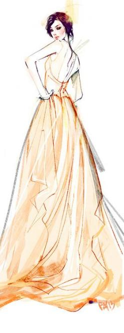 elegance in apricot orange.happy friday. - CAFFEINATED : Fashion Illustrations of Ieatcoffee: Fashion Sketches, Fashion Drawing, Fashion Illistration, Designer Fashion Sketch, Orange Happy Friday, Fashion Illustrations, Fashion Illustration Sketch, Aprico