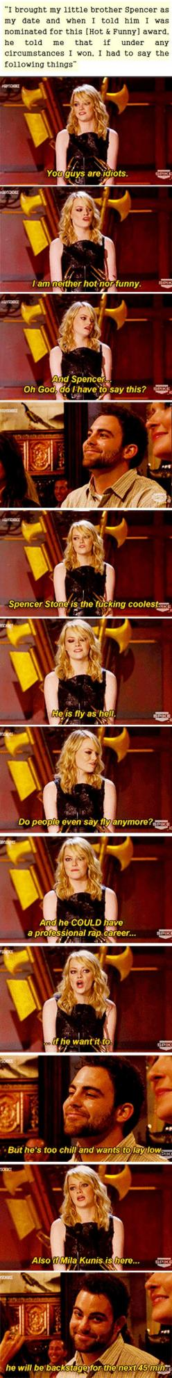 Emma Stone, ladies and gentlemen: Giggle, Emma Stone, Sibling, Funny Stuff, Best Sister, Brother, Stones