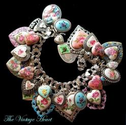 Enamel heart bracelet - absolutely beautiful ♥ the 80's burned me out on hEaRts but.....this is gorgeous!: Vintage Heart, Heart Charm, Craft, Charm Bracelets, Heart Bracelet, Steampunk Jewelry, Jewelry Ideas