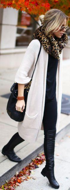 fall outfits womens fashion clothes style apparel closet ideas. leopard scarf sunglasses white sweater black boots shoulder bag