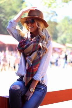 : Fall Winter Fashion, Fall Style, Fall Outfits Women, Blanket Scarf, Winter Style, Fall Fashion, Plaid Blanket, Plaid Scarf