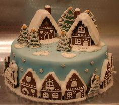 Gingerbread house cake! No, I will never make this, but isn't it beautiful ??? !!!!