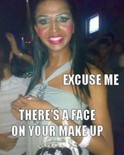 Hahahaha, I soooo often wonder what some people look like without makeup, or how much time some people spend putting makeup on everyday...like that shit has got to take a while haha: Face, Giggle, Girl, Makeup, Funny Stuff, Humor, Funnies, Things